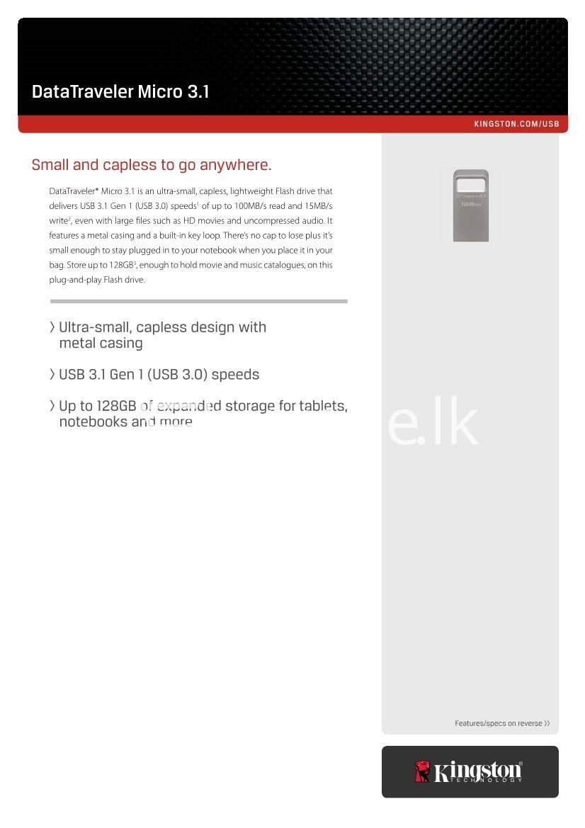 64gb kingston usb 3.0 data traveler micro 3.1 flash pen drive computer store special best offer buy one lk sri lanka 43545 - 64GB Kingston USB 3.0 Data Traveler Micro 3.1 Flash Pen drive