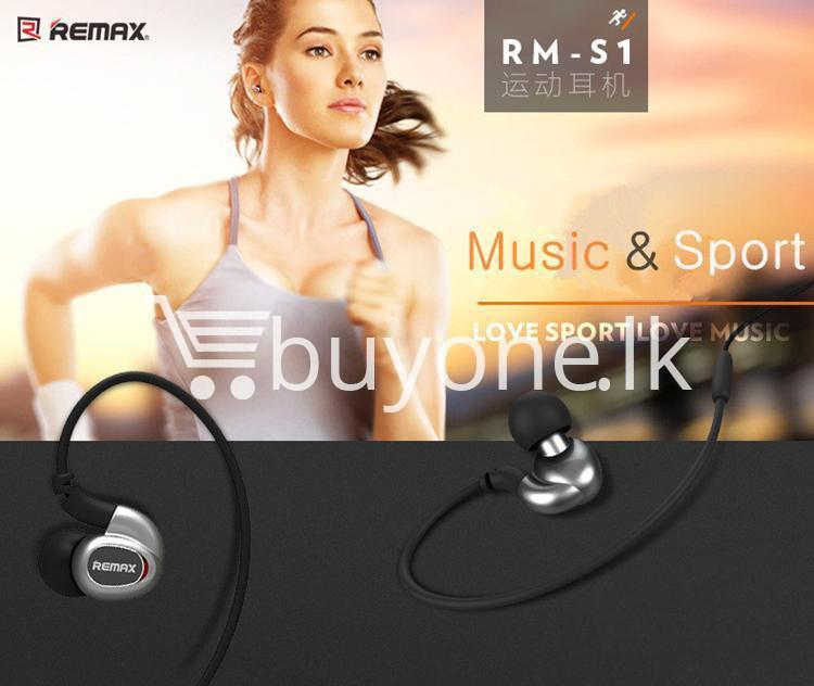 remax s1 stereo sport earphones deep bass music earbuds with microphone mobile phone accessories special best offer buy one lk sri lanka 48032 - Remax S1 Stereo Sport Earphones Deep Bass Music Earbuds with Microphone