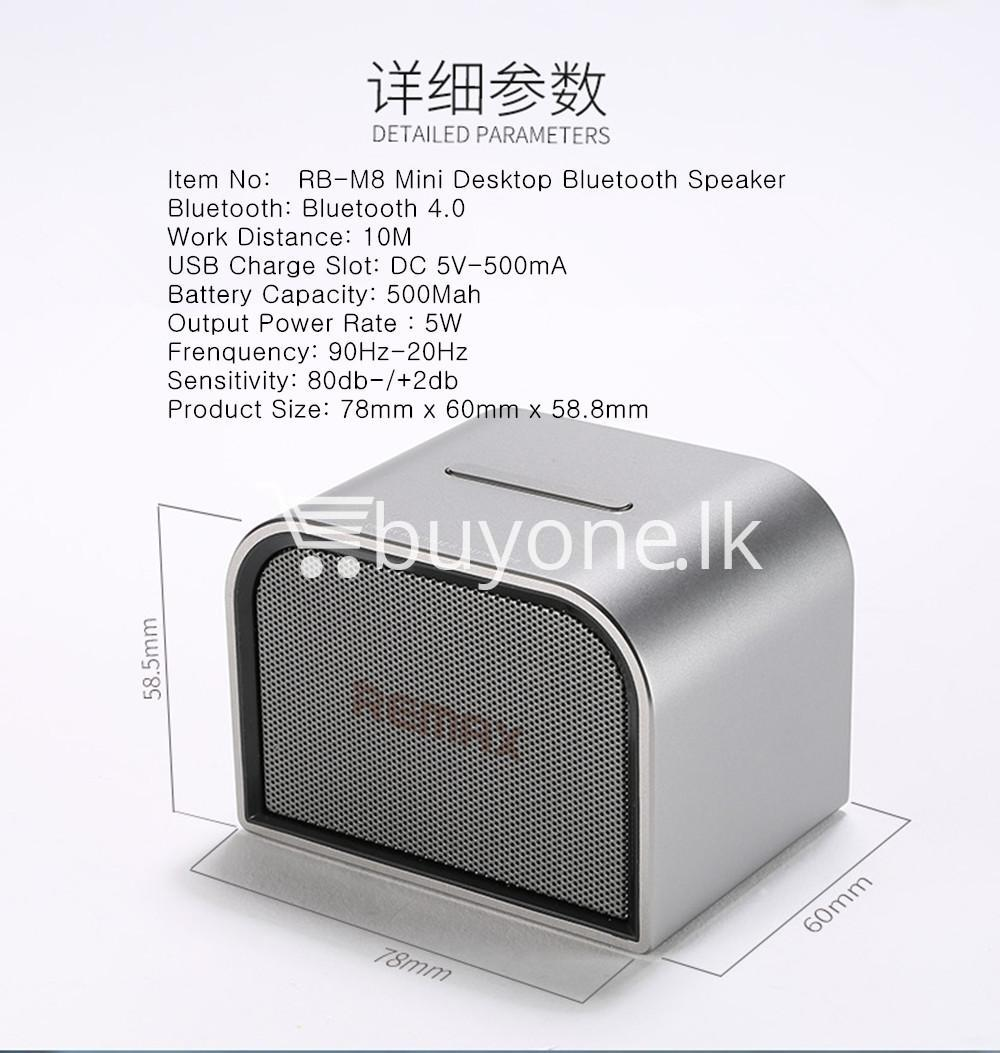 remax m8 mini desktop bluetooth 4.0 speaker deep bass aluminum mobile phone accessories special best offer buy one lk sri lanka 60125 - Remax M8 Mini Desktop Bluetooth 4.0 Speaker Deep Bass Aluminum