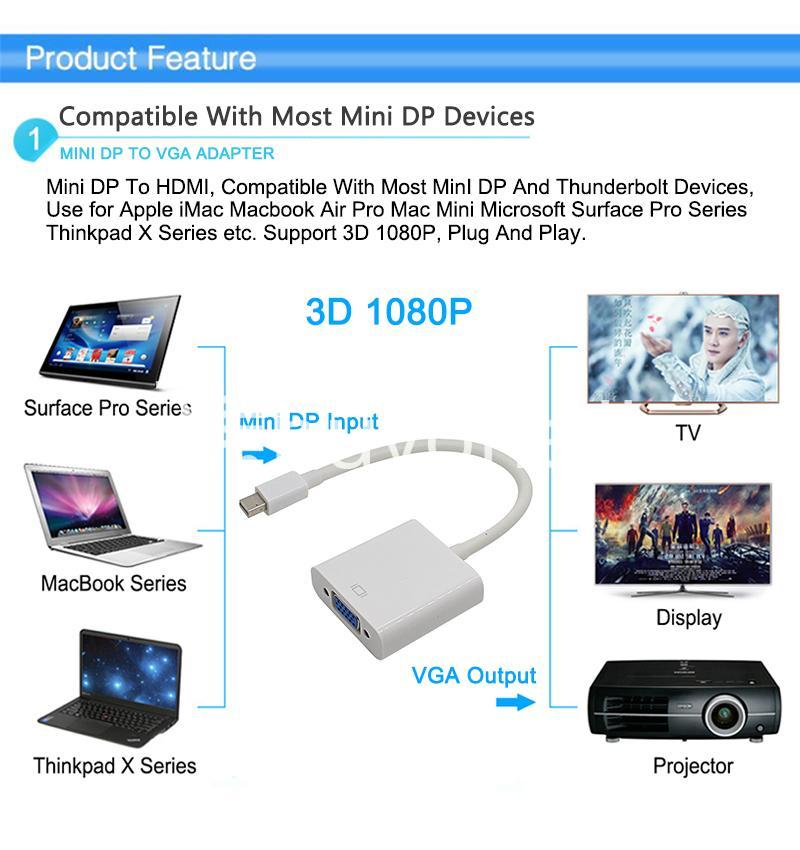 mini displayport thunderbolt to vga converter 1080p cables for macbook imac more computer accessories special best offer buy one lk sri lanka 43911 - Mini Displayport Thunderbolt To VGA Converter 1080P Cables For Macbook, iMac, More