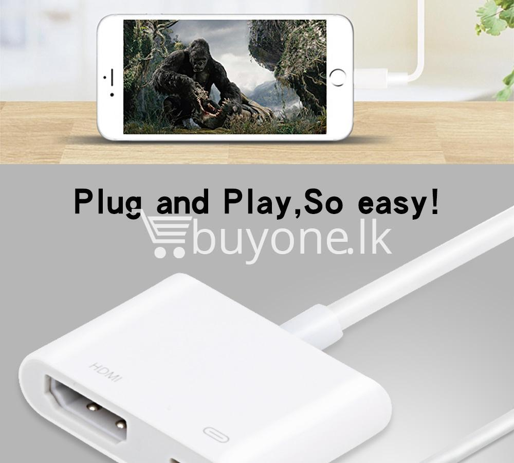 original hdmi hdtv tv lightning digital av adapter cable for iphone high resolution 1080p mobile phone accessories special best offer buy one lk sri lanka 46593 - Original HDMI/ HDTV TV Lightning Digital  AV Adapter Cable For iPhone High Resolution 1080P