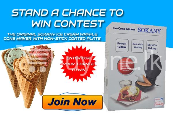 Stand a Chance To Win The Original Sokany Ice Cream Waffle Cone Maker with Non stick Coated Plate Small - Online Shopping Store in Sri lanka, Latest Mobile Accessories, Latest Electronic Items, Latest Home Kitchen Items in Sri lanka, Stereo Headset with Remote Controller, iPod Usb Charger, Micro USB to USB Cable, Original Phone Charger | Buyone.lk Homepage