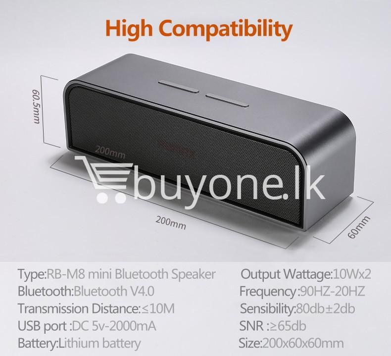 remax rb m8 portable aluminum wireless bluetooth 4.0 speakers with clear bass computer accessories special best offer buy one lk sri lanka 57650 REMAX RB M8 Portable Aluminum Wireless Bluetooth 4.0 Speakers with Clear Bass