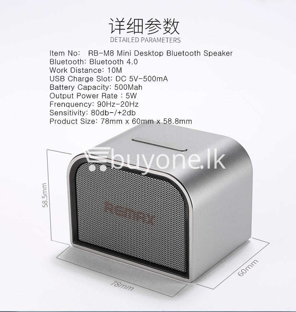 remax m8 mini desktop bluetooth 4.0 speaker deep bass aluminum mobile phone accessories special best offer buy one lk sri lanka 60125 - Remax M8 Mini Desktop Bluetooth 4.0 Speaker Deep Bass Aluminum