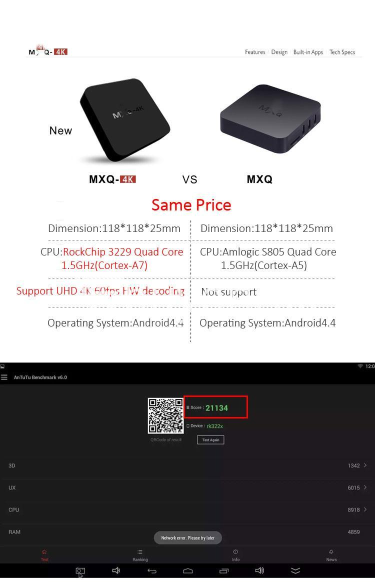 mxq 4k smart tv box kodi 15.2 preinstalled android 5.1 1g8g h.264h.265 10bit wifi lan hdmi dlna airplay miracast mobile phone accessories special best offer buy one lk sri lanka 50948 - MXQ 4K Smart TV Box KODI 15.2 Preinstalled Android 5.1 1G/8G H.264/H.265 10Bit WIFI LAN HDMI DLNA AirPlay Miracast