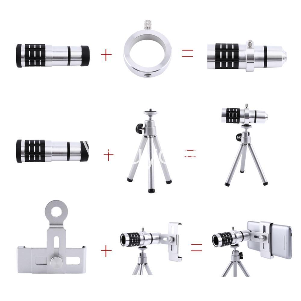 12x zoom camera telephoto telescope lens mount tripod kit for iphone xiaomi samsung huawei htc universal mobile phone accessories special best offer buy one lk sri lanka 06553 - 12X Zoom Camera Telephoto Telescope Lens + Mount Tripod Kit For iPhone Xiaomi Samsung Huawei HTC Universal
