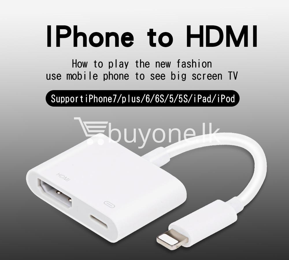 original hdmi hdtv tv lightning digital av adapter cable for iphone high resolution 1080p mobile phone accessories special best offer buy one lk sri lanka 46587 Original HDMI/ HDTV TV Lightning Digital  AV Adapter Cable For iPhone High Resolution 1080P