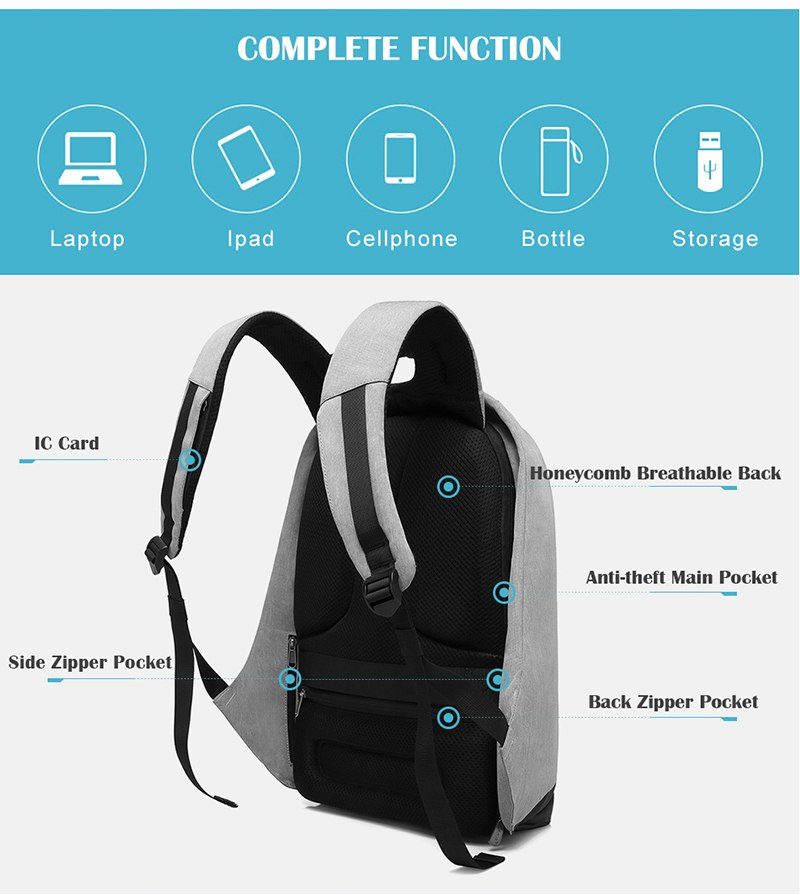 new multi function waterproof anti theft laptop backpacks with usb charging computer accessories special best offer buy one lk sri lanka 67103 - New Multi function Waterproof Anti theft Laptop Backpacks with USB Charging