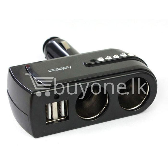 2 usb charger supply double sockets car cigarette lighter extender splitter automobile store special best offer buy one lk sri lanka 65757 - 2 USB Charger Supply + Double Sockets Car Cigarette Lighter Extender Splitter