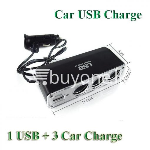 new triple socket 3 ways with usb car charger cigarette lighter power adapter splitter automobile store special best offer buy one lk sri lanka 22632 510x510 - New Triple Socket 3 Ways with USB Car Charger Cigarette Lighter Power Adapter Splitter