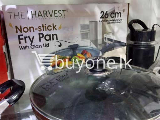 the harvest premium homeware 26cm non stick fry pan with glass lid home and kitchen special best offer buy one lk sri lanka 99595 510x383 - The Harvest Premium Homeware-26cm Non Stick Fry Pan with Glass Lid