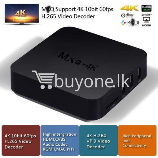 mxq 4k smart tv box kodi 15.2 preinstalled android 5.1 1g8g h.264h.265 10bit wifi lan hdmi dlna airplay miracast mobile phone accessories special best offer buy one lk sri lanka 50932 510x510 - MXQ 4K Smart TV Box KODI 15.2 Preinstalled Android 5.1 1G/8G H.264/H.265 10Bit WIFI LAN HDMI DLNA AirPlay Miracast