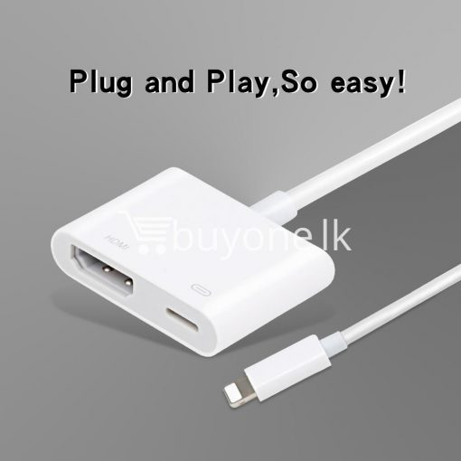 original hdmi hdtv tv lightning digital av adapter cable for iphone high resolution 1080p mobile phone accessories special best offer buy one lk sri lanka 46583 510x510 - Original HDMI/ HDTV TV Lightning Digital  AV Adapter Cable For iPhone High Resolution 1080P