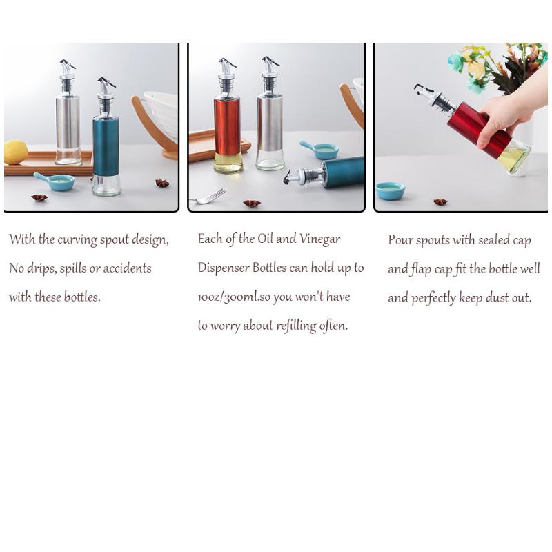 Glass Olive Oil Dispenser Bottle Oil And Vinegar Cruet with Pourers 8 - Glass Olive Oil Dispenser Bottle Oil And Vinegar Cruet with Pourers