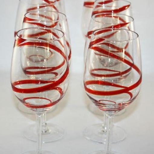 red swril stemmed 3 1 510x510 - Red Swril Stemmed Wine Glasses Set Of 6
