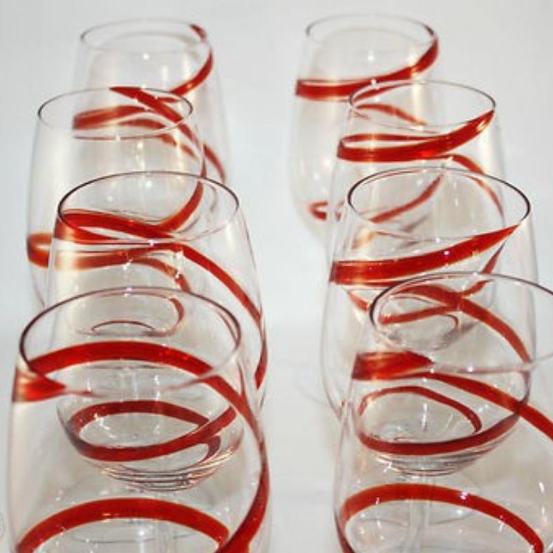 red swril stemmed 5 - Red Swril Stemmed Wine Glasses Set Of 6