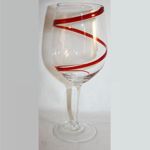 red swril glass1 510x510 - Red Swril Stemmed Wine Glasses Set Of 6
