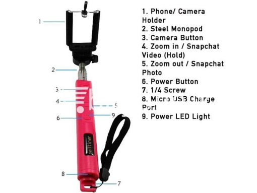 monopod wireless selftimer with in built zoom inout mobile store mobile phone accessories brand new buyone lk avurudu sale offer sri lanka 2 510x383 - Monopod Wireless Selftimer with in-built zoom in/out