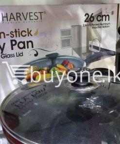 the harvest premium homeware 26cm non stick fry pan with glass lid home and kitchen special best offer buy one lk sri lanka 99595 247x296 - The Harvest Premium Homeware-26cm Non Stick Fry Pan with Glass Lid